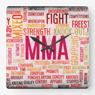 Mixed Martial Arts or MMA as a Grunge Concept Square Wall Clock