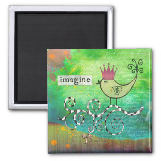Mixed Media Altered Art Collage Imagine Magnet