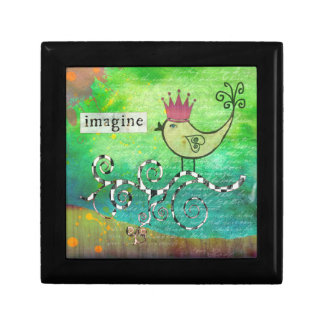 Mixed Media Altered Collage Imagine Jewelry Box