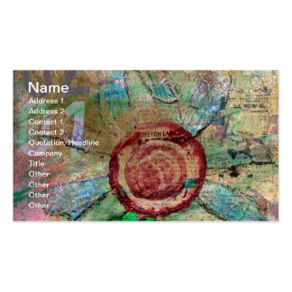 Mixed Media and Digital Flower Business Card