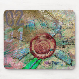 Mixed Media and Digital Flower Mousepad