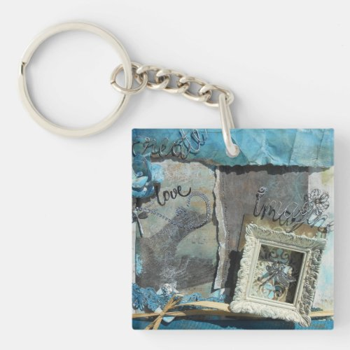 Mixed Media Art Create Love Imagine Keychain