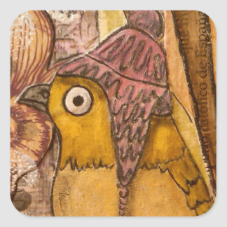 Mixed Media Bird with Hat Square Sticker