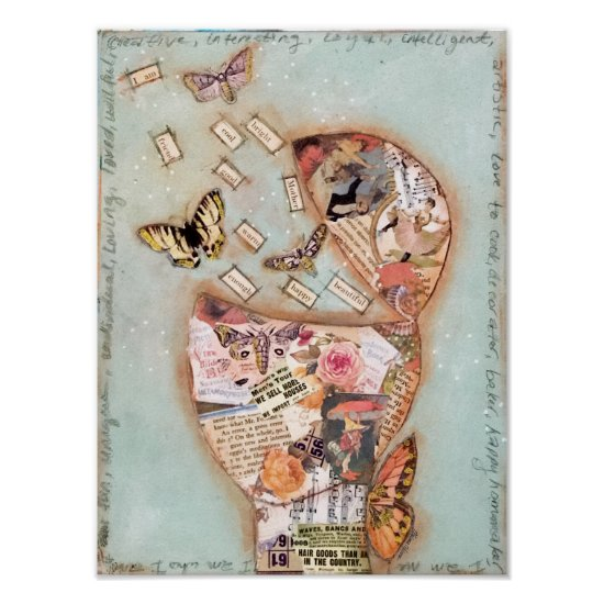 Mixed Media Collage Art Butterflies Roses Vintage Poster