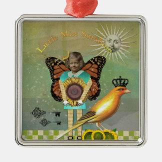 Mixed Media Collage Little Miss Sunshine Ornament