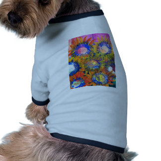 Mixed Media Collage Sunflower Painting Doggie Tee