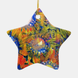 Mixed Media Collage Sunflower Painting Double-Sided Star Ceramic Christmas Ornament