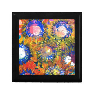 Mixed Media Collage Sunflower Painting Gift Boxes