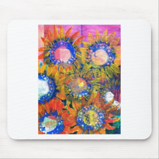 Mixed Media Collage Sunflower Painting Mouse Pad