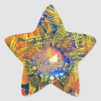 Mixed Media Collage Sunflower Painting Star Sticker