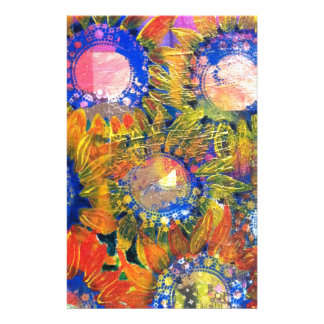 Mixed Media Collage Sunflower Painting Stationery Design