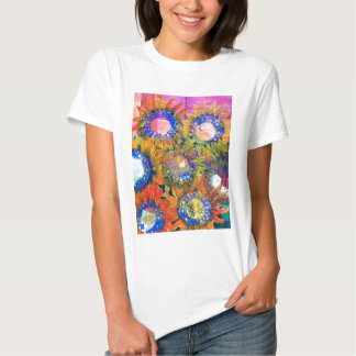 Mixed Media Collage Sunflower Painting Tee Shirt