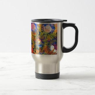 Mixed Media Collage Sunflower Painting Travel Mug