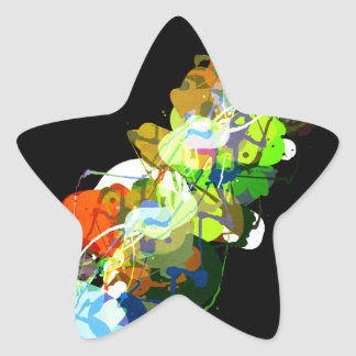 Mixed Media Colors 3 Star Sticker