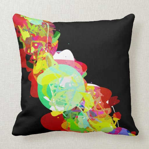 Throw Pillows Primary Colors : Mixed Media Colors 5 Throw Pillow Zazzle