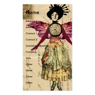 Mixed Media Doll With Pink Wings Business Cards
