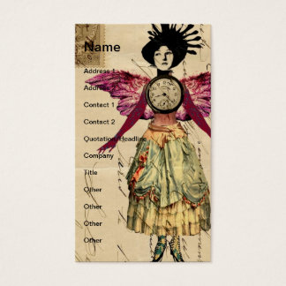 Mixed Media Doll With Pink Wings Business Card