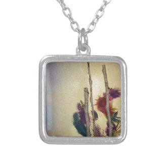 """Mixed media """"feather tree"""" mixed media for fun silver plated necklace"""