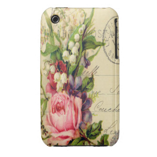 Mixed Media Floral Collage Case-Mate iPhone 3 Case
