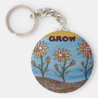 Mixed Media Flower Field Basic Round Button Keychain