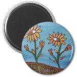 Mixed Media Flower Field Fridge Magnets