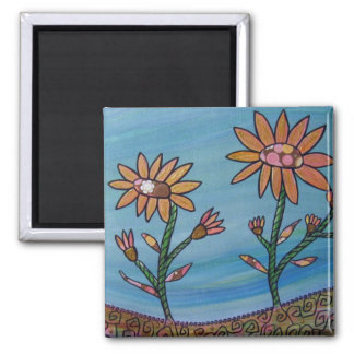 Mixed Media Flower Field Magnet