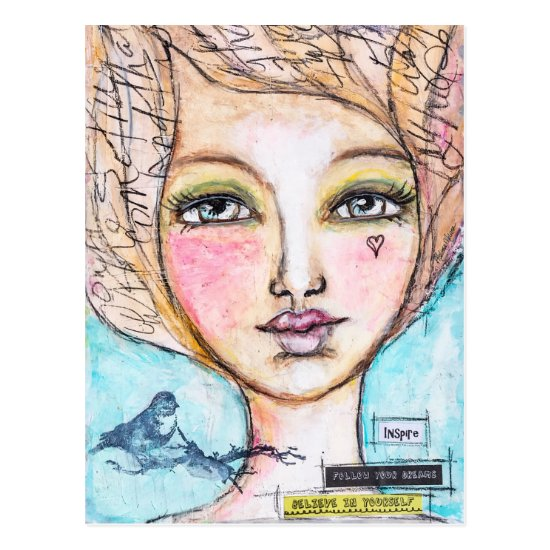 Mixed Media Girl Bird Cute Colorful Whimsical Art Postcard