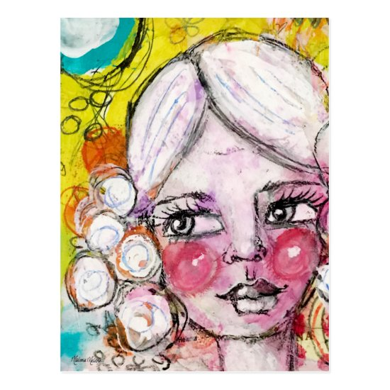 Mixed Media Painting Cute Girl Fun Whimsical Art Postcard