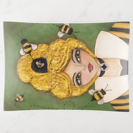 Mixed Media Queen Bee Hive Girl Fun Whimsical Art Trinket Trays