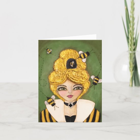 Mixed Media Queen Bee Hive Girl Whimsical Art Note Card