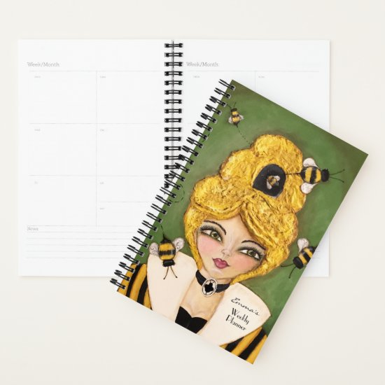Mixed Media Queen Bee Hive Girl Whimsical Small Planner