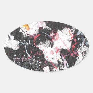 """mixed media"",""ready to hang"", ""wall art"",abstract oval sticker"