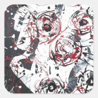 """mixed media""""ready to hang""""wall art""abstract square sticker"