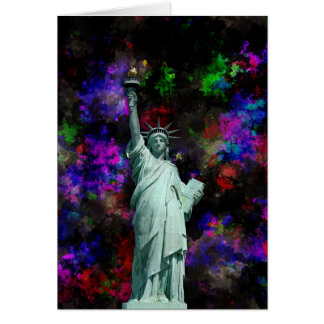 Mixed Media Statue of Liberty Card