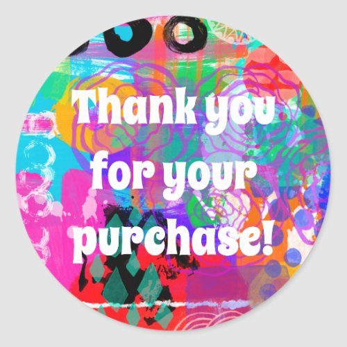 Mixed Media Thank You for your Purchase Sticker
