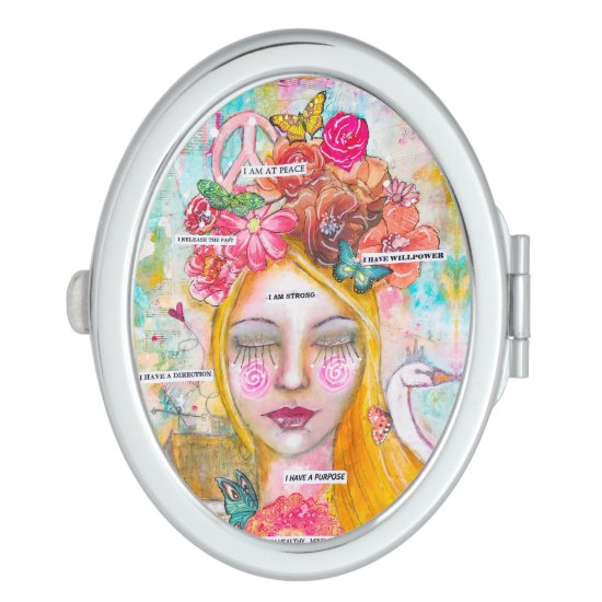 Mixed Media Whimsical Girl Artistic Colorful Fun Compact Mirror