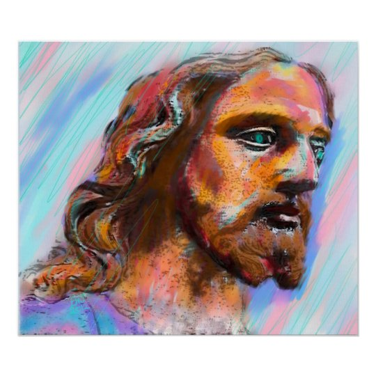 Mixed Medium Jesus Painting, Giclee on Canvas Poster