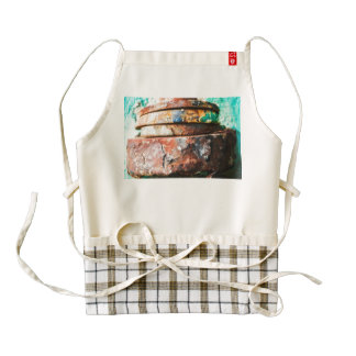 mixed metal race to cake zazzle HEART apron