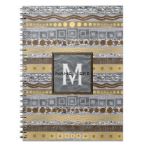 Mixed Metals Monogram Back To School Hi-Tec Glam Notebook