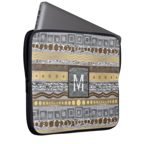 Mixed Metals Monogram Computer Essentials School Laptop Sleeve