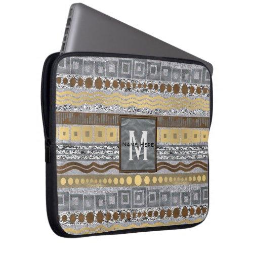 Mixed Metals Monogram Computer Essentials School Laptop Sleeve