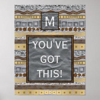 Mixed Metals Monogram Dorm Room Youve Got This Poster