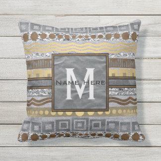 Mixed Metals Monogram Glam Urban Outdoor Spaces Outdoor Pillow