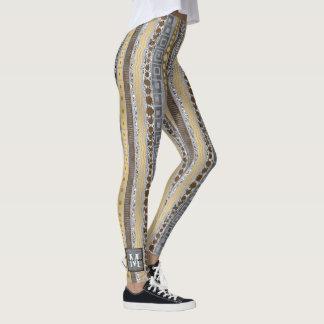 Mixed Metals Monogram Optional Metallic Fashion Leggings
