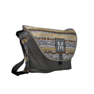 Mixed Metals Monogram Pattern School Travel Glam Messenger Bag