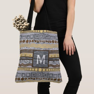 Beach Themed Mixed Metals Monogram Upscale Urban Chic Fashion Tote Bag