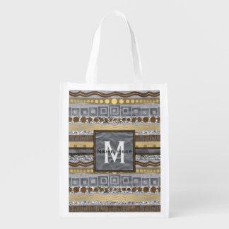 Mixed Metals Monogram Urban Industrial Glam Grocery Bag