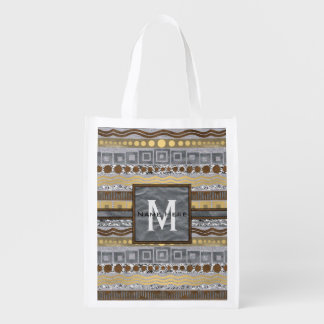 Mixed Metals Monogram Urban Industrial Glam Reusable Grocery Bags
