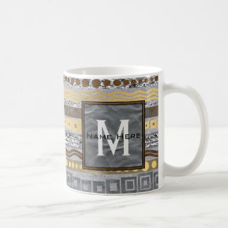 Mixed Metals Pattern Industrial Modern Monogram Coffee Mug