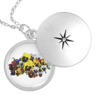 Mixed Pansies Round Locket Necklace